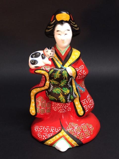 宮城県 郷土玩具 土人形 堤人形 猫抱き花魁