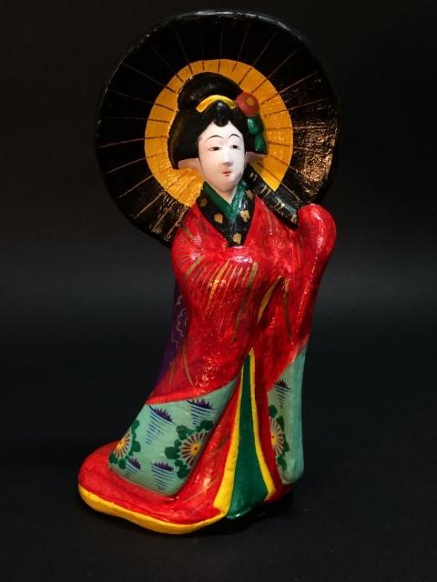 郷土玩具 愛知 三河大浜土人形 傘差し娘